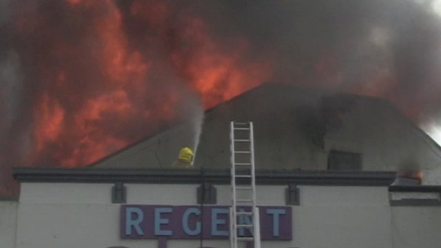 Lyme Regis cinema on fire