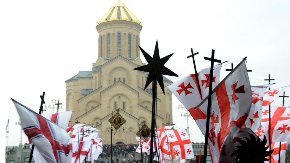 A religious procession outside Tbilisi's Holy Trinity Cathedral