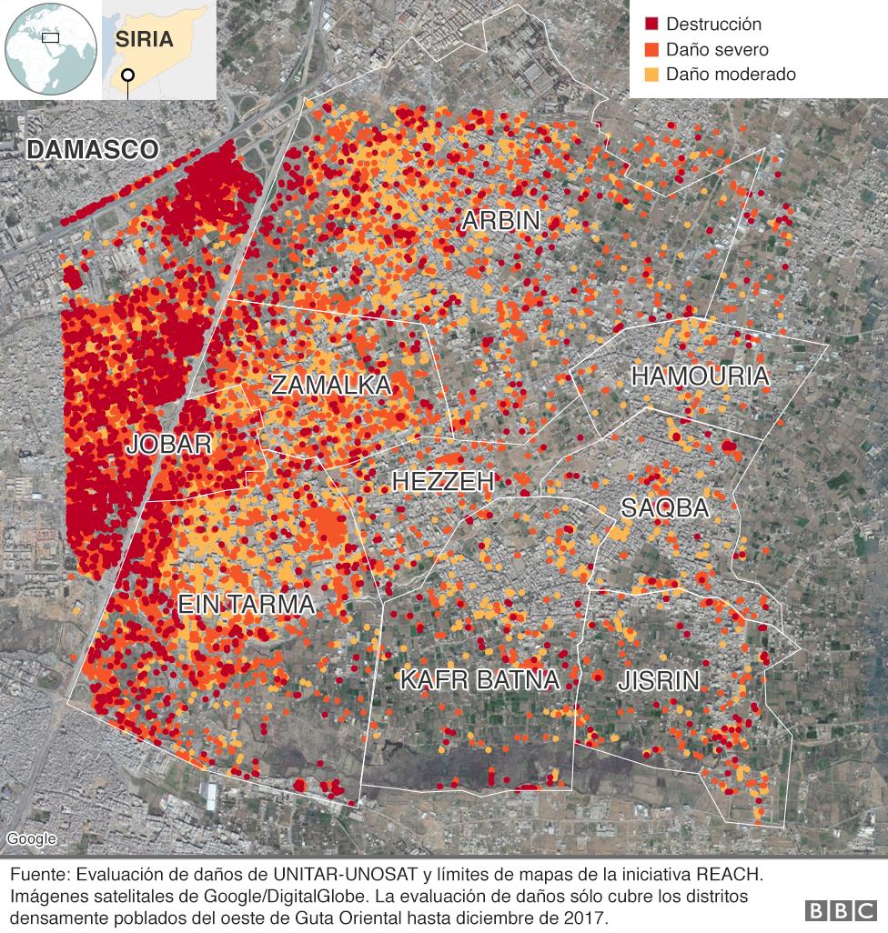 Mapa que muestra los niveles de destrucción en Guta Oriental, Siria, hasta diciembre de 2017