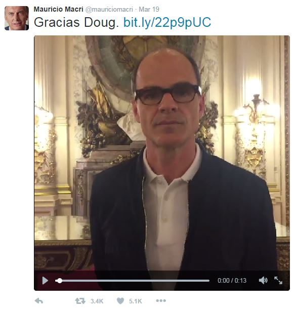 Doug Stamper from the TV series House of Cards addresses President Macri in the Casa Rosada in Argentina.