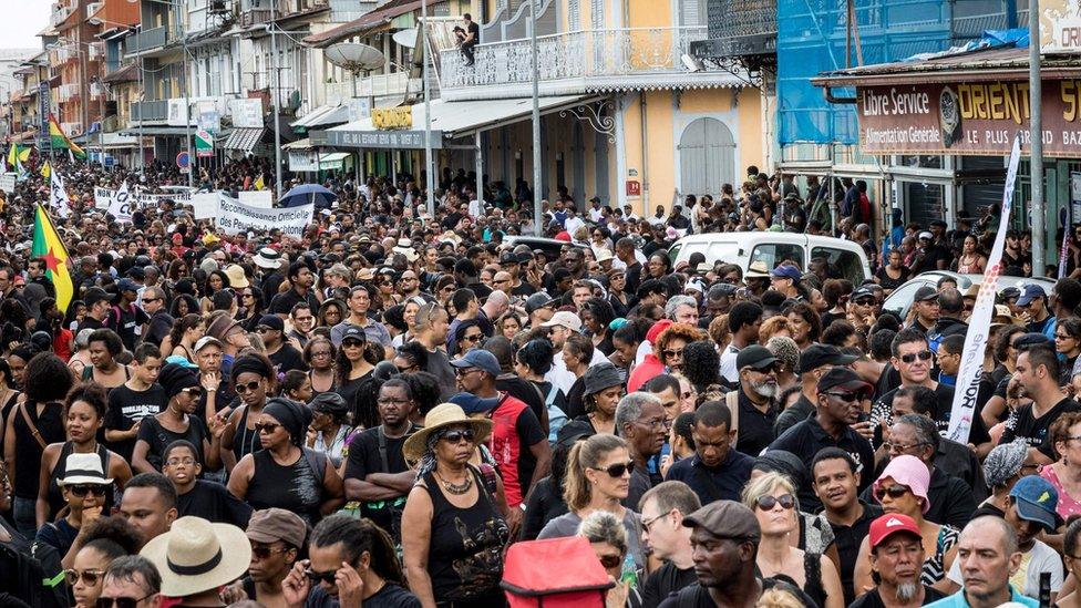 Marcha del 28 de marzo en la Guyana Francesa.