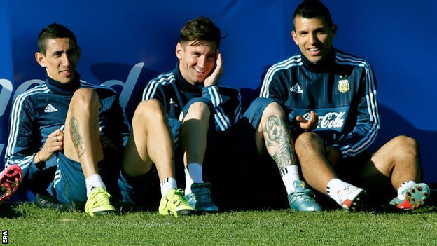 Angel Di Maria (left), Lionel Messi (centre) and Sergio Aguero
