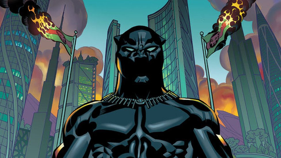 Black Panther next to burning buildings