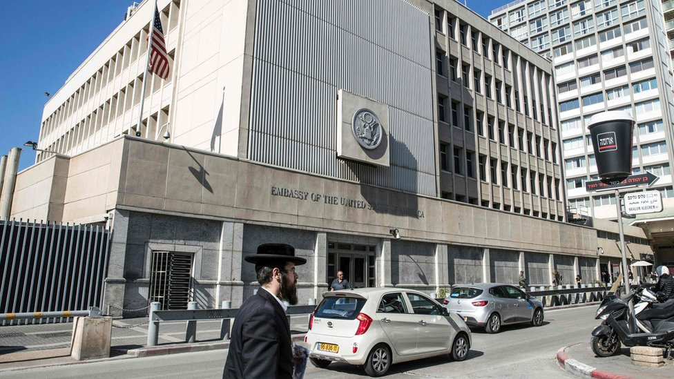 The exterior of the US Embassy in the Israeli city of Tel Aviv