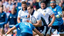 Scotland's Tim Visser is tackled at Murrayfield in Saturday's warm-up win