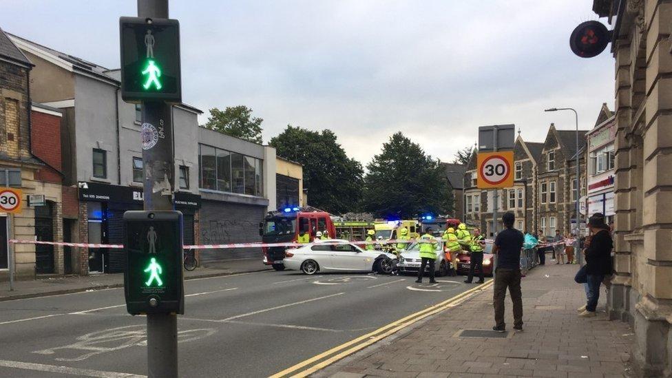 Five injured after three-car crash in Roath, Cardiff