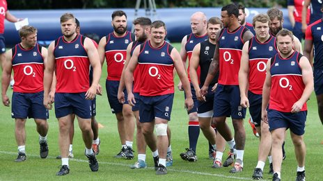 England players in training