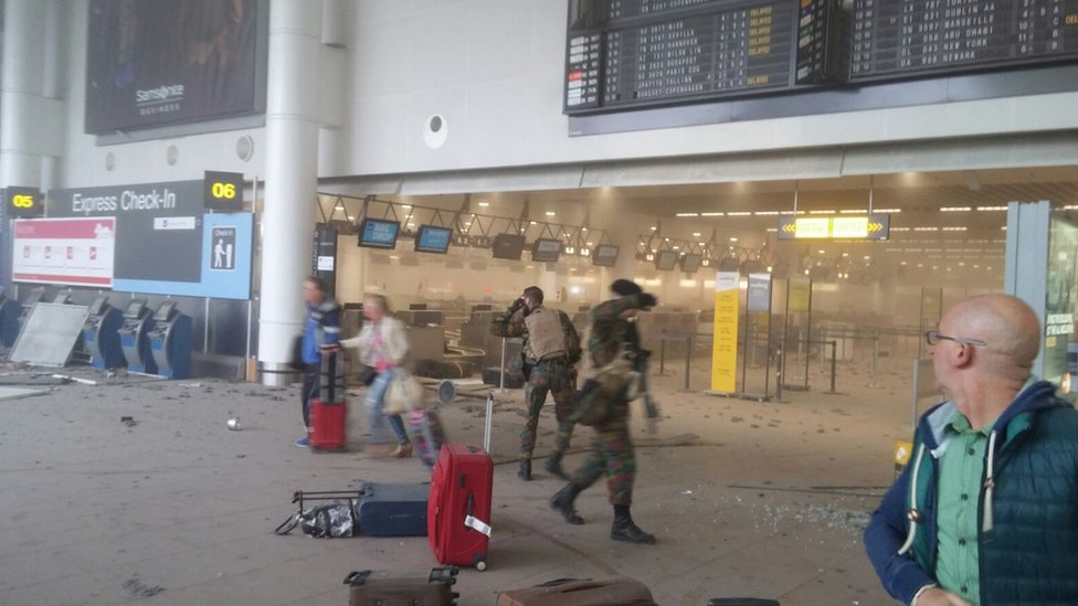 Scene inside airport, 22 March