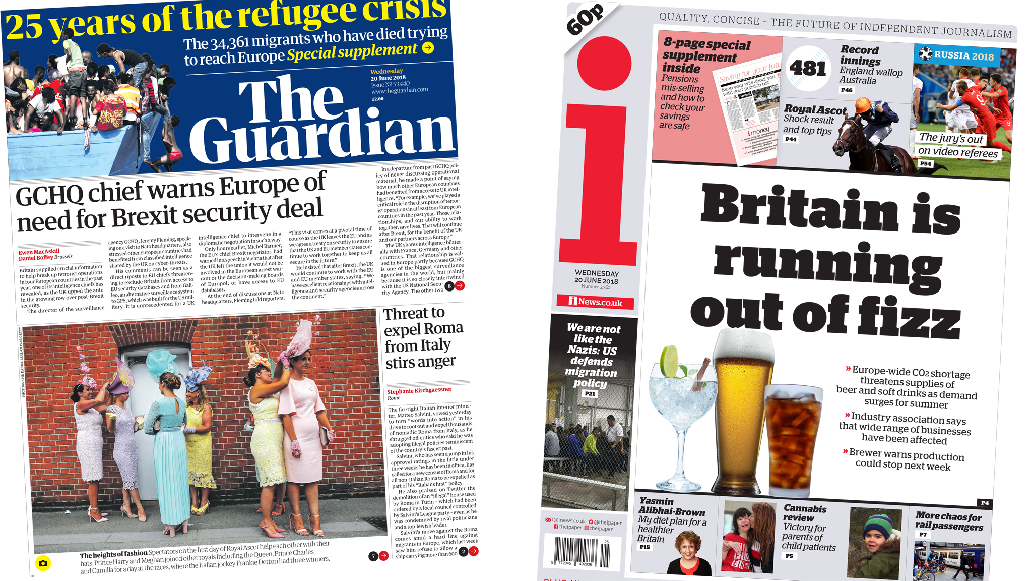 Newspaper headlines: GCHQ Brexit fears and fizzy drink 'shortage'