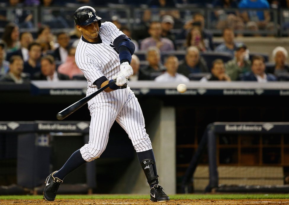 Alex Rodriguez of the New York Yankees hits his 661st home run, 7 May 2015