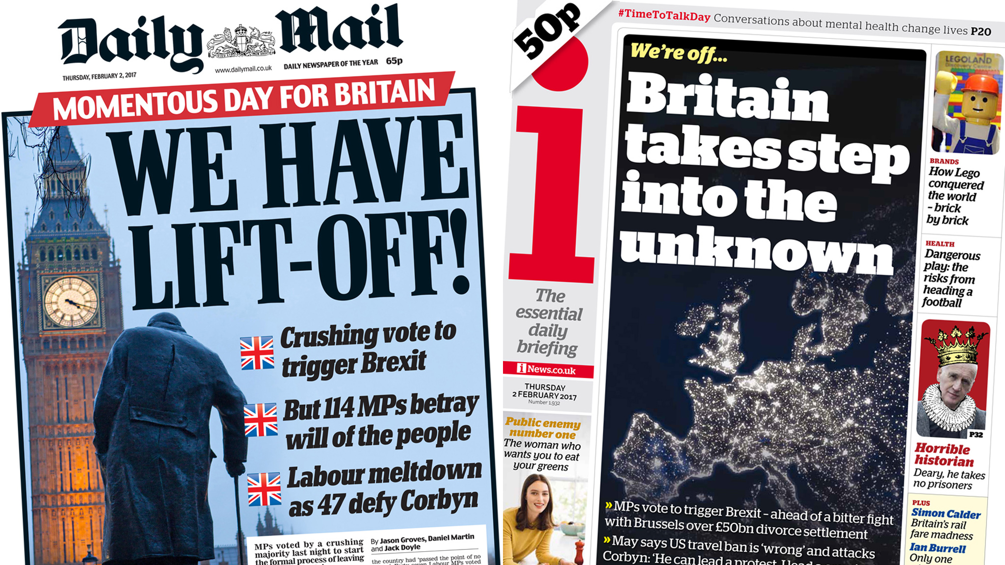 Newspaper headlines: Rejoice and revolts as 'Brexit begins ...