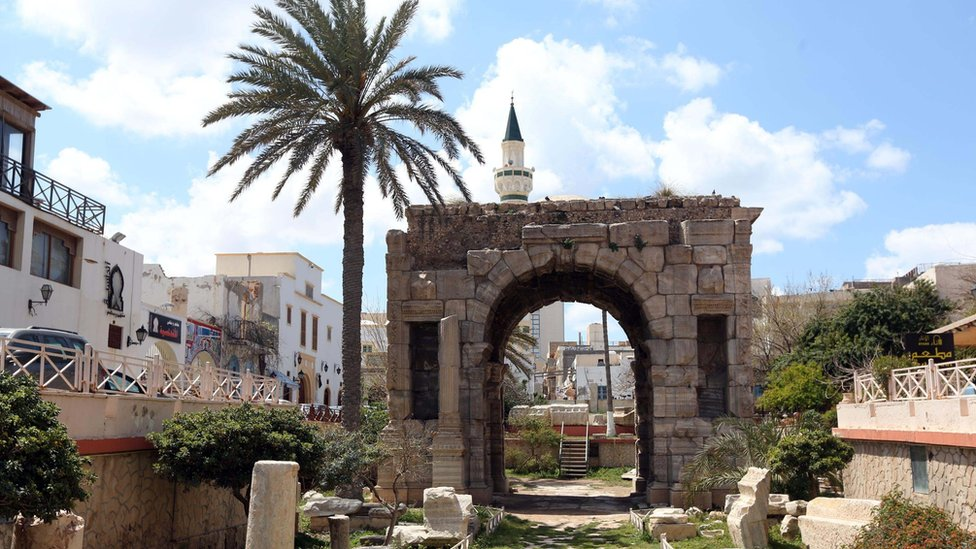 Ancient Roman arch in modern Tripoli