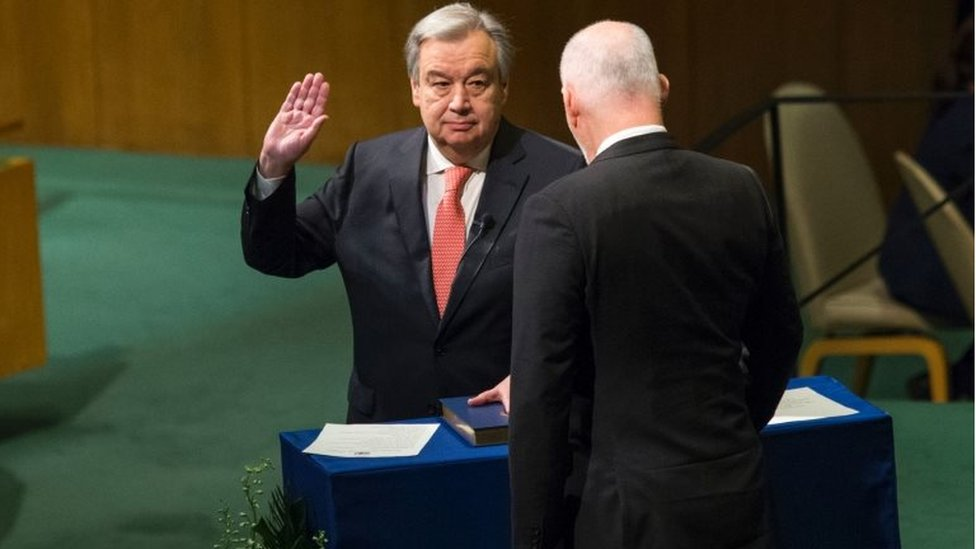 انطونيو غوتيريش يؤدي القسم الخاص بالأمين العام للأمم المتحدة في 12 ديسمبر/ كانون الأول