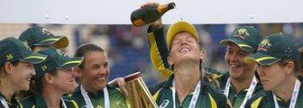 Australia lift the Women's Ashes trophy