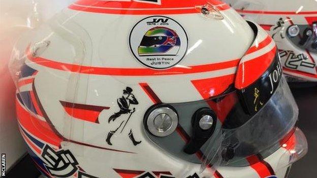 Tributes to Justin Wilson on helmets of McLaren drivers