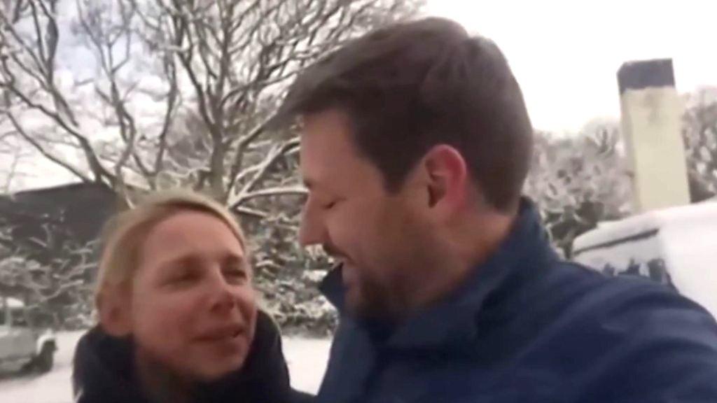 Couple spend snowy wedding night in classroom