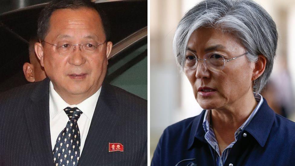 وزيرة الخارجية الكورية الجنوبية ونظيرها الكوري الشمالي في قمة آسيان