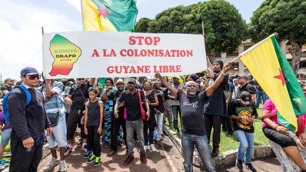 Protesta en Guyana Francesa