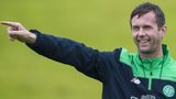Celtic manager Ronny Deila points the way in training
