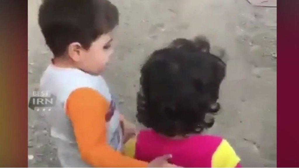 Iranian boy leads friend to food video