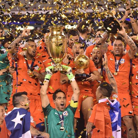 Chile celebra el título en la Copa América Centenario