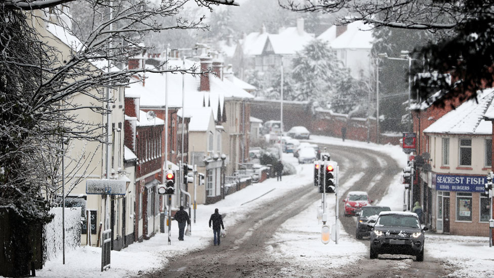 UK snow: Travellers struggle as icy conditions persist