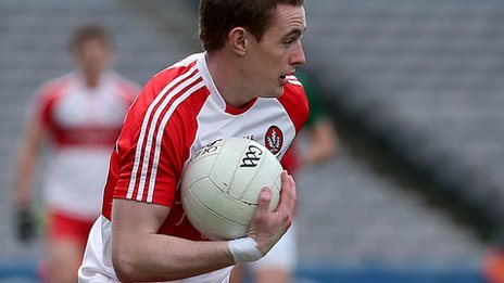 Aaron Devlin in action for Derry last year