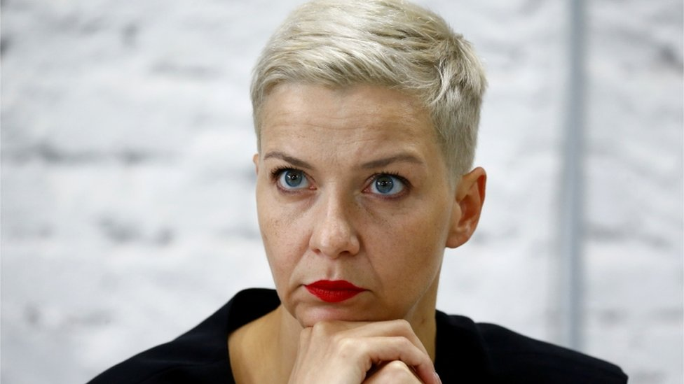 Maria Kolesnikova at a news conference in Belarus