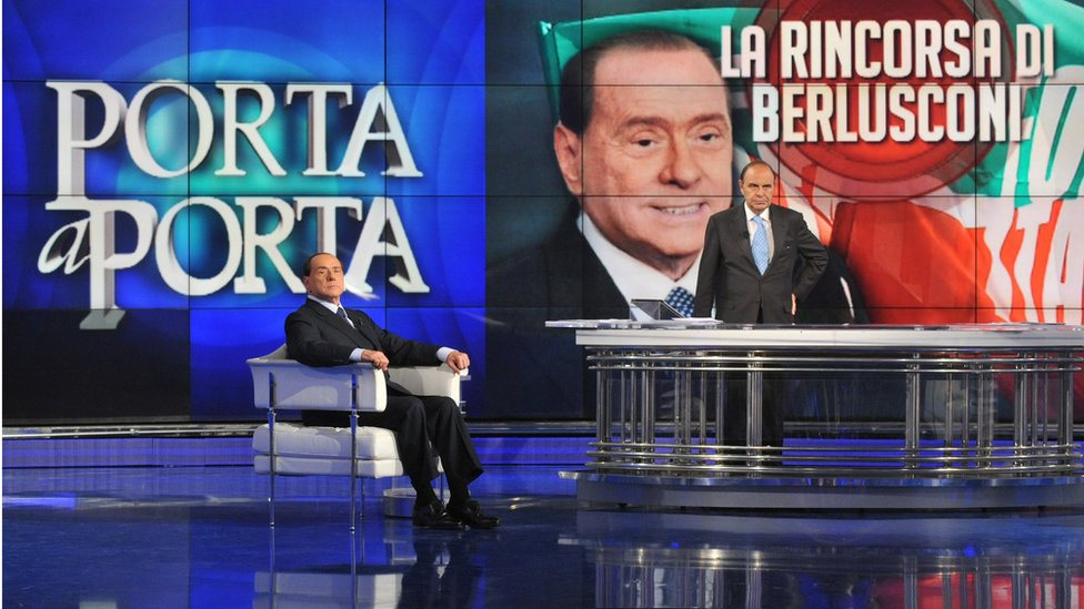 Silvio Berlusconi appears on Rai TV