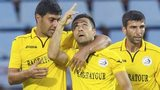 Mihran Manasyan (centre) celebrates his goal for Alashkert