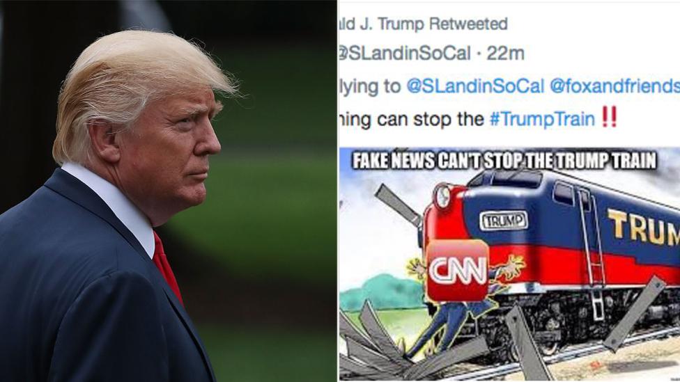 Trump tweets cartoon of train hitting CNN reporter