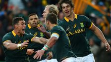 South African players celebrates scoring their try during The Castle Lager Rugby Championship 2015 match between South Africa and New Zealand at Emirates Airline Park on July 25, 2015