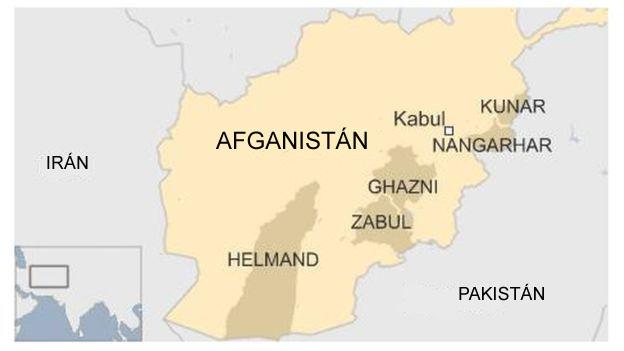 Mapa de Afganistán con varias de sus provincias