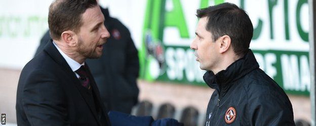 Former Motherwell manager Ian Baraclough and former Dundee United boss Jackie McNamara
