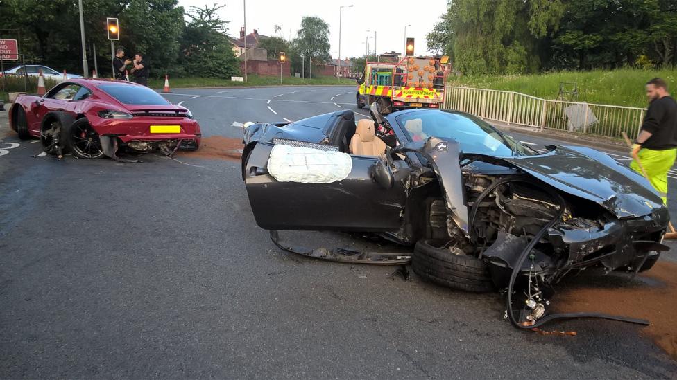 Ferrari and Porsche wrecked in Sheffield crash | BBC