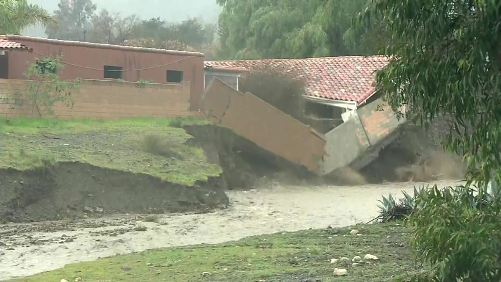 California mudslides: Buildings collapse after severe weather