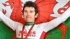 Geraint Thomas with a Welsh flag