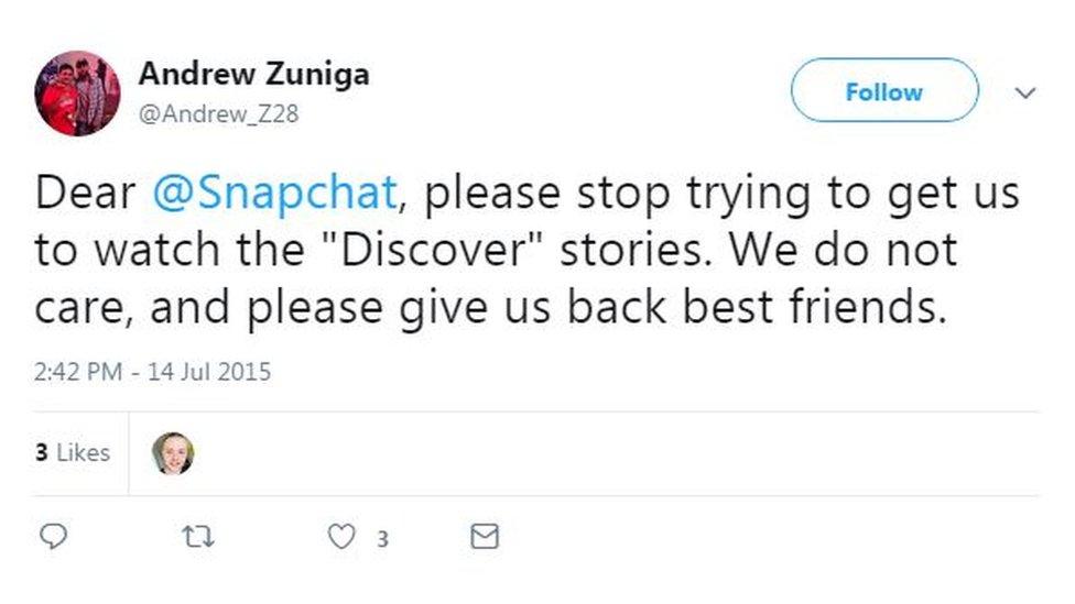 Tuit de Andrew Zuniga sobre Snapchat. (Foto: Twitter/AndrewZuniga).