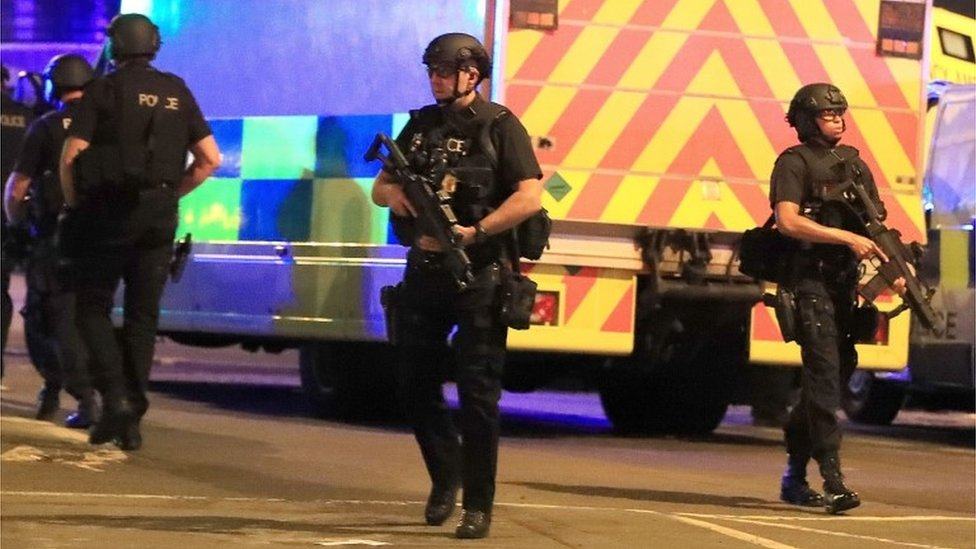 Police at Manchester Arena on 22 May 2017
