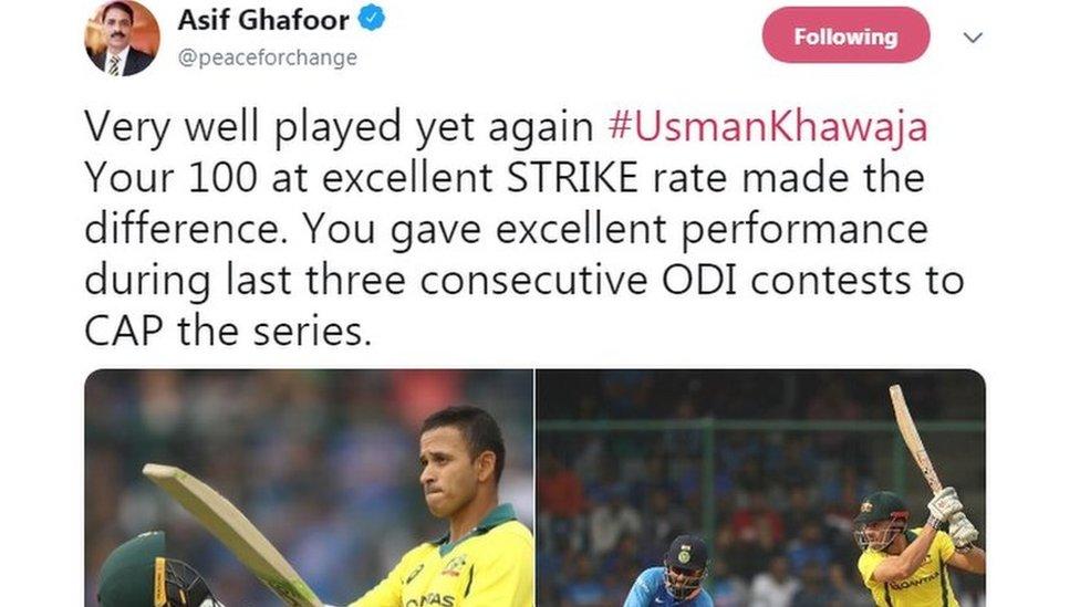 انڈیا کی شکست اور میجر جنرل آصف غفور کی ٹویٹ