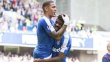 Rangers' James Tavernier (left) celebrates after giving his side the two goal lead.