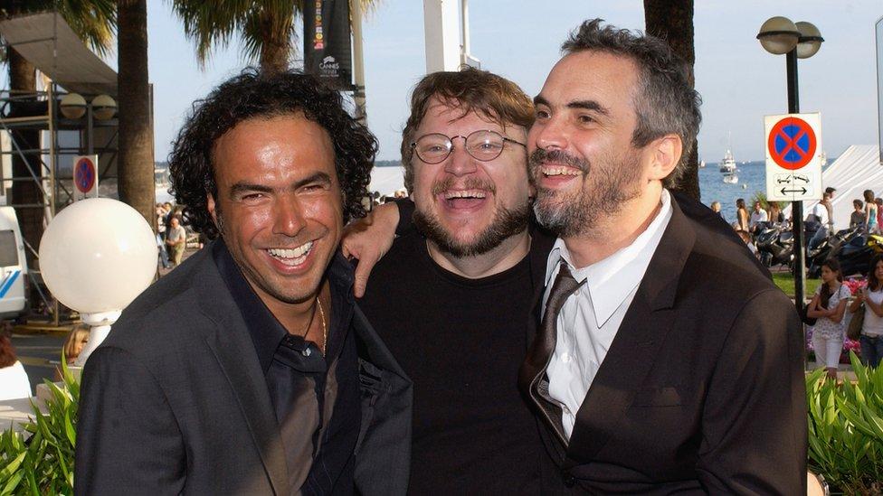 Alejandro González Iñárritu, Guillermo del Toro y Alfonso Cuarón en Cannes, Francia