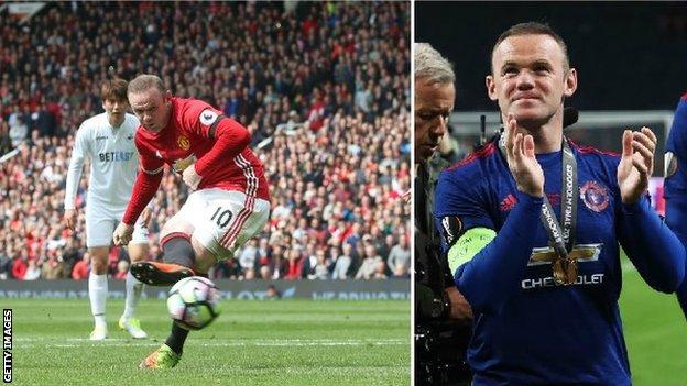 Wayne Rooney en acción para Manchester United