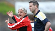 Derry manager Brian McIver and Donegal counterpart Rory Gallagher