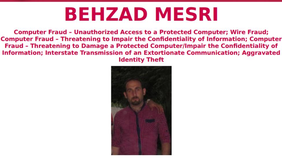 Perfil de Behzad Mesri en los más buscados del FBI (Foto: FBI)
