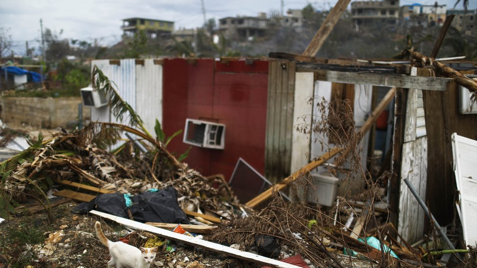 آثار الإعصار ماريا في جزيرة بورتريكو