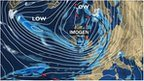 BBC Weather synoptic chart showing the approach of Storm Imogen to the UK.
