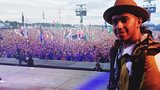 Lewis Hamilton at Glastonbury
