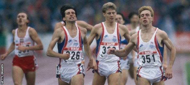 Coe wins European 800m gold in 1986, ahead of Tom McKean and Cram