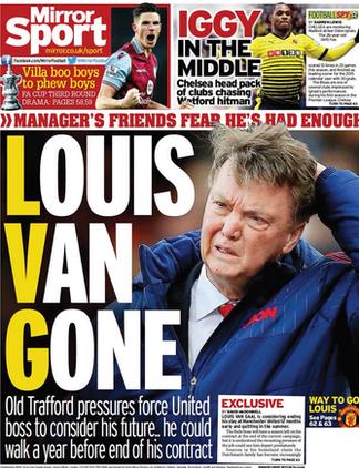Today's newspaper gossip: Van Gaal could quit United; Everton want £65m for Lukaku